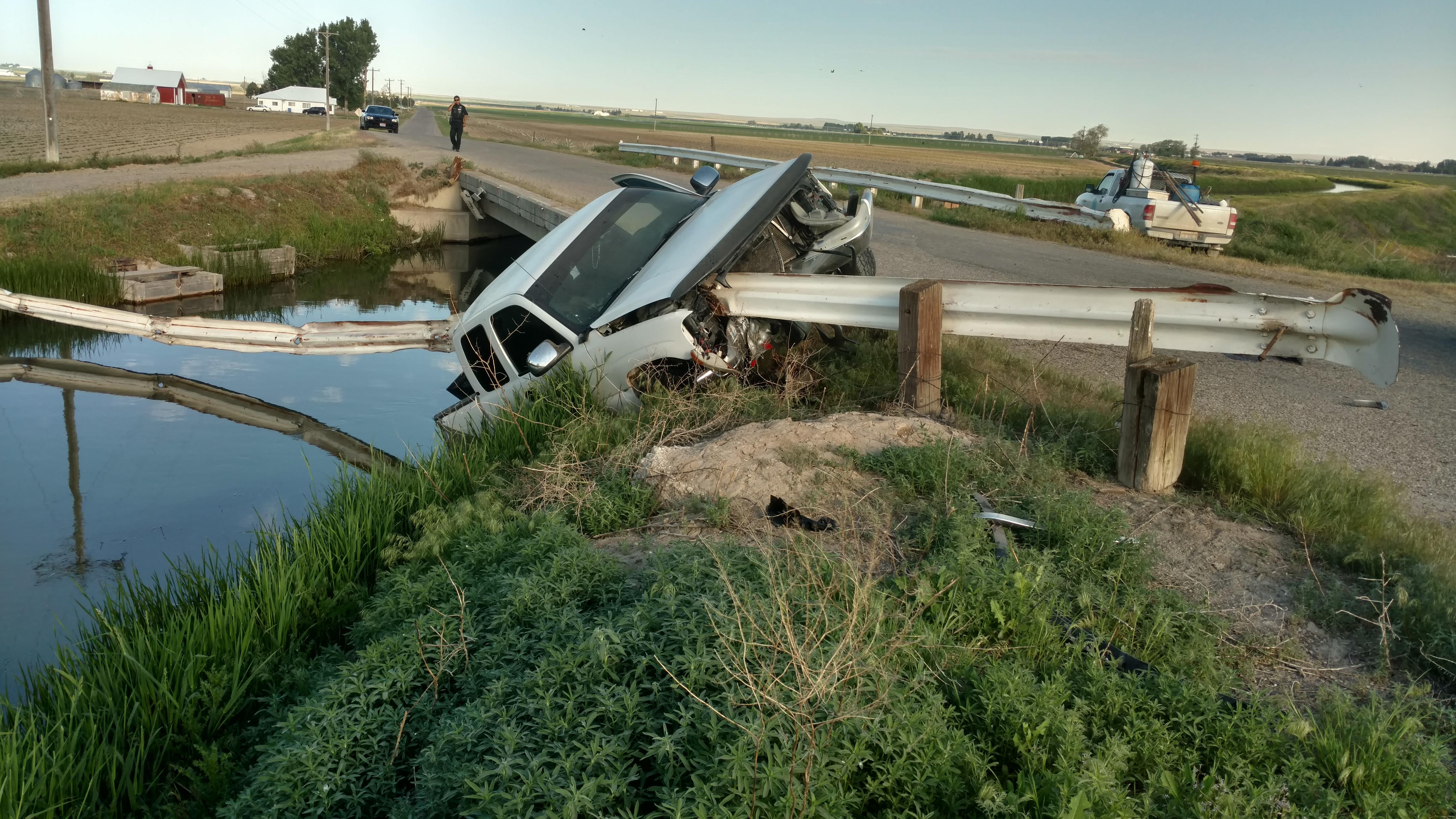 Stolen pickup found impaled on 30 feet of steel guard rail