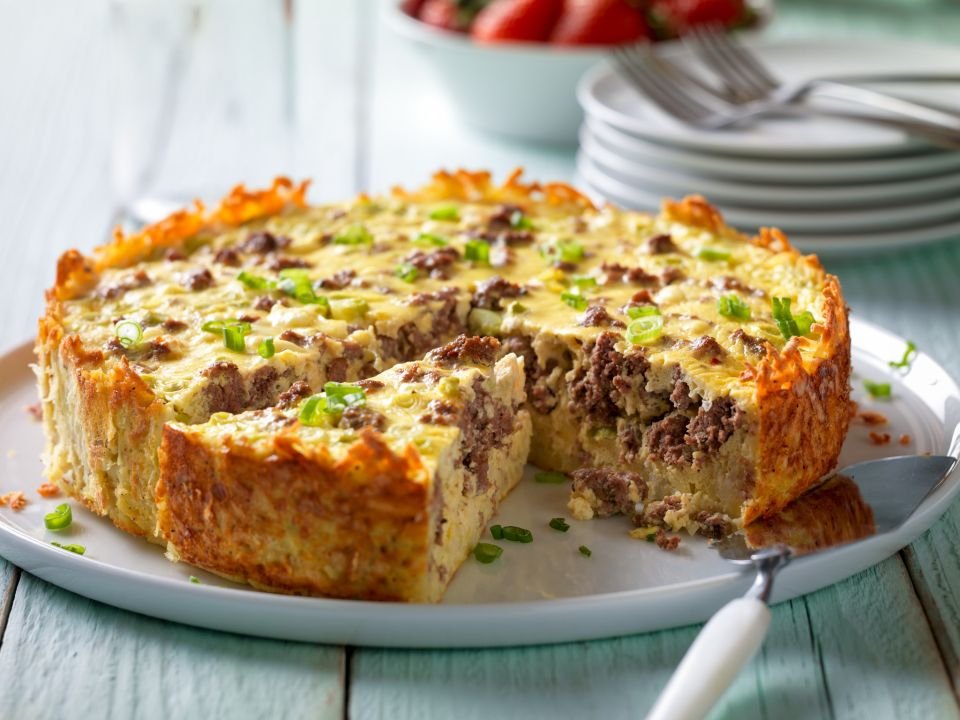 Country beef breakfast sausage and goat cheese egg bake ...